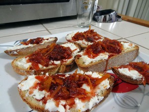 Goat Cheese & Blood Orange Marmalade Crostini