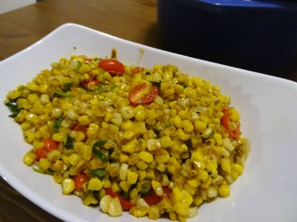 Sauteed corn with scallions and cherry tomatoes