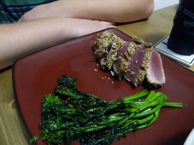 Pat is a vegetarian that eats fish, so in lieu of meat medallions, I made him a seared tuna.