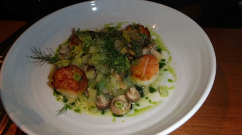 Seared Scallops with Smoked Shellfish, Fennel, and Potatoes