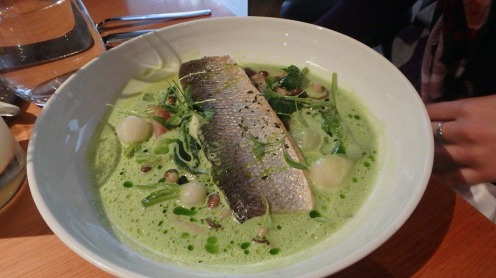 Slow-Baked Sea Bass with Glazed Turnips and Green Curry Nage