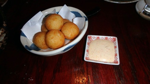 Potato Mochi: Deep fried potato rice cake served with spicy mayonnaise