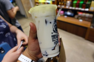 Grass Jelly Milk Tea!